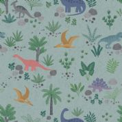 Lewis & Irene - Kimmeridge Bay - 6218 - Dinosaur Scene on Duckegg - A303.3 - Cotton Fabric